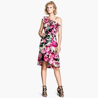 XS- XXL Ruffle One Shoulder Print Dress Women 2014 Summer Flower Dresses Plus Size