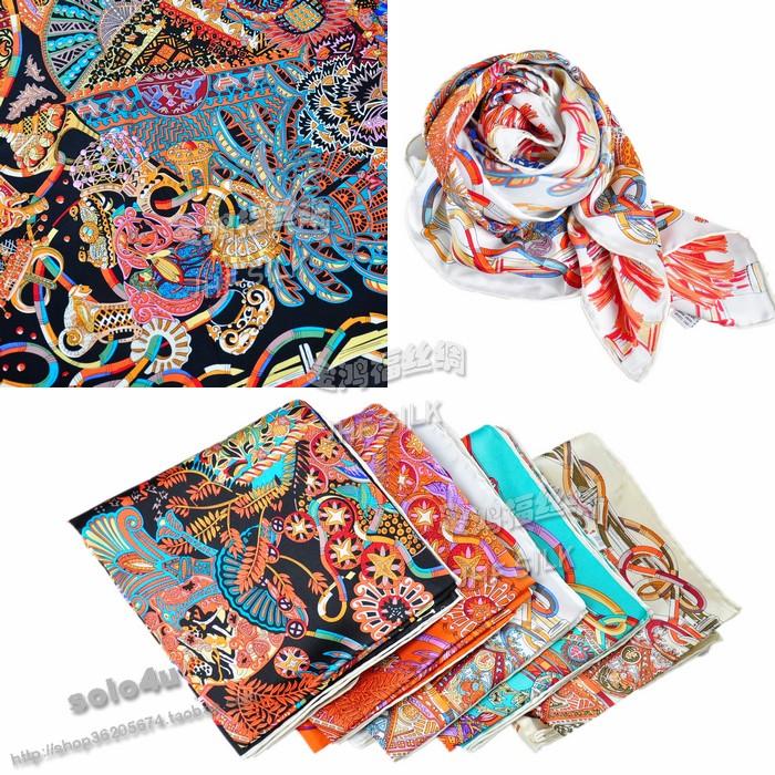 100 silk mulberry silk scarf silk scarf cape slanting stripe silk large print facecloth(China (Mainland))