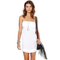XS - XXL Adjustable Spaghetti Strap White Chiffon Dress Women Summer Dresses 2014
