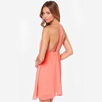 XS-XXL Spaghetti Strap Chiffon Double Layer Dress Women Plus Size Red Blue Pink Dresses 2014 Summer