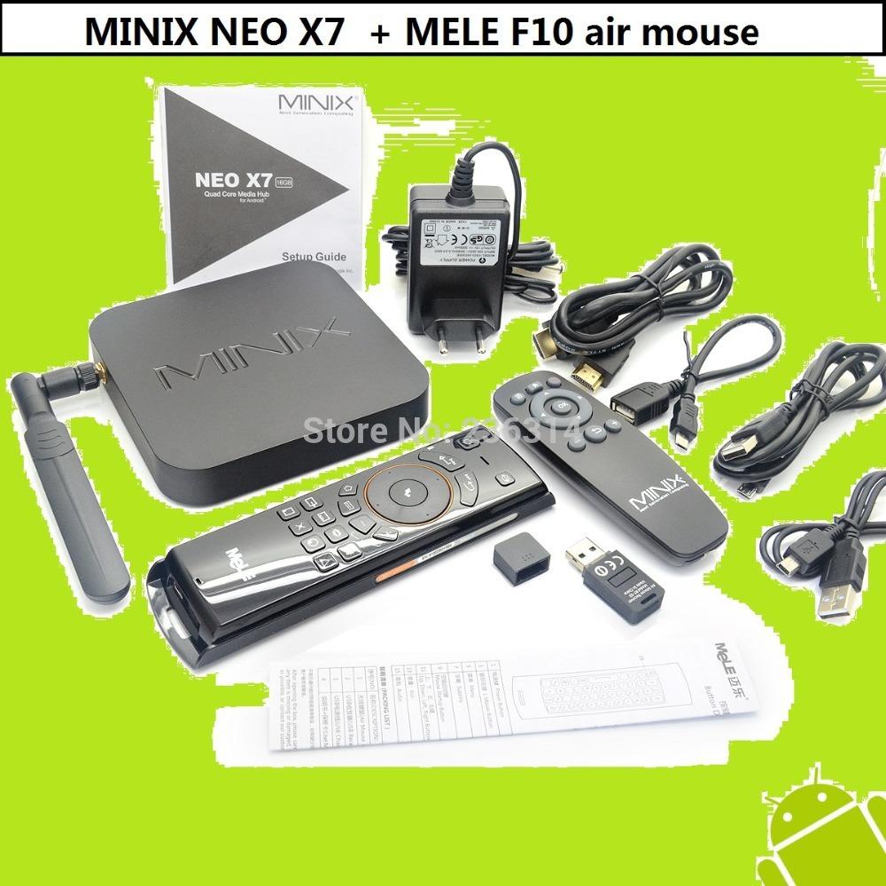 MINIX NEO X7 Android 4.2.2 Quad Core TV Box 1.6GHz 2G/16G WiFi HDMI USB RJ45 OTG XBMC + MELE F10 Air Mouse free shipping(China (Mainland))