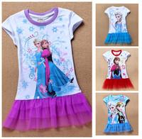 Frozen,Wholesale New 2014  Summer Girls Clothes Girl Dress Kids Clothing Baby Casual Dress Princess Frozen Elsa Dress
