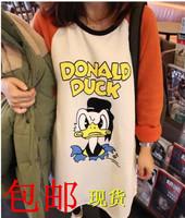 Free shipping Maternity clothing spring maternity sweatshirt 2014 medium-long donald duck top t-shirt