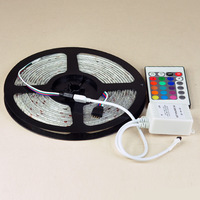 High Quality 3528 RGB LED Strip Light Flexible 5M/Reel Non Waterproof Ribbon Lamp DC 12V +IR 24Key Remote Controller 1Set