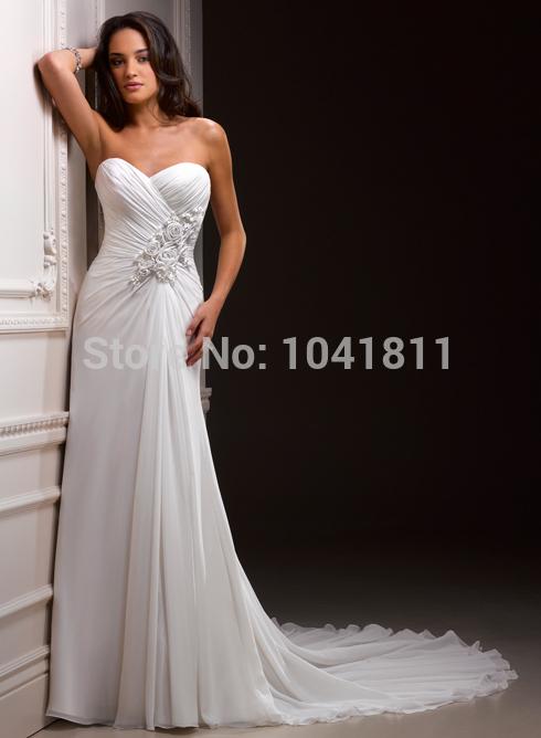 2014 New Style Hotsale Top Quality White Chiffon Beach Wedding Dresses Sweetheart Pleat Rose Free Shipping Custom Made(China (Mainland))