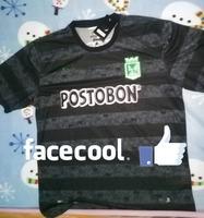 A+++ Top Men 2014 Colombia club 14 15 Atletico Nacional away black jersey soccer shirt 100% Thailand Quality