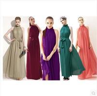 Halter Bohemian Dress collar chiffon dress long dress multicolor can choose