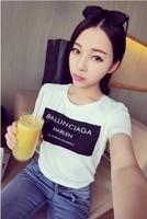 2014 spring and summer letter short-sleeve o-neck slim T-shirt