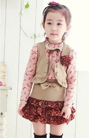 Korean version of the 2014 summer children suit wholesale children's clothing for girls three-piece suit skirt suit children