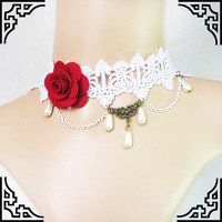 Graceful White Lace Necklace with Red Rose Drop Pearls Decorations for Bride's Wedding Party Bride's Ornaments Stocked