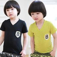 2014 summer 8 pocket paragraph boys clothing baby child V-neck short-sleeve T-shirt tx-2059