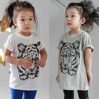 2014 summer tiger girls clothing baby child short-sleeve T-shirt tx-3032