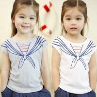 2014 summer gentlewomen bow tie girls clothing baby child short-sleeve T-shirt tx-1682
