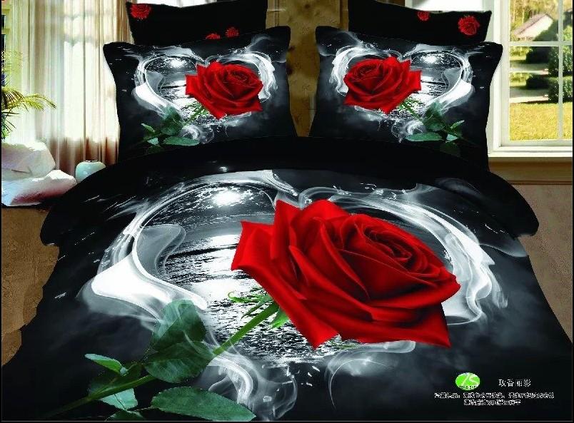 Luxe rouge rose noir femmes adolescent queen 3d ensembles for Drap housse in english