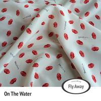 Red high quality chiffon velvet printed cloth one-piece dress elegant clothes fabric