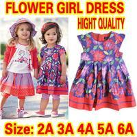 Retail girl dresses new fashion 2014 100% cotton baby girl dress floral dresses children clothing girl dresses wedding