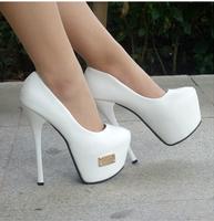 New 2014 women's autumn shoes single shoes platform thin heels 16cm ultra high heels fashion White wedding shoes women's pumps