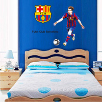 QZ562 Free Shipping 1 Pcs Football World Cup Football Club Spanish Liga Barcelona Messi Removable Wall Stickers Decoration