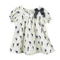 2014 bow girls dress deer dresses 100% cotton children pretty tops baby girl summer T-shirt deer cartoon dress kids tees shirt