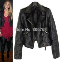 2014 New Women Winter Motorcycle Leather Jacket Coat S-XXL 5 Size Short Paragraph Diagonal Zipper outerwear