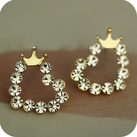 OMH wholesale 12 pair off 45% = $0.36/pair EH20 accessories sweet crystal small heart fresh all-match stud earring 4g