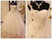 One shoulder belt the bride wedding dress spilliness rhinestone slim waist pleated white plus size