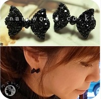 OMH wholesale 18 EH04 sweet paragraph accessories full crystal bow rhinestone stud earring 5g 12pair off 48%