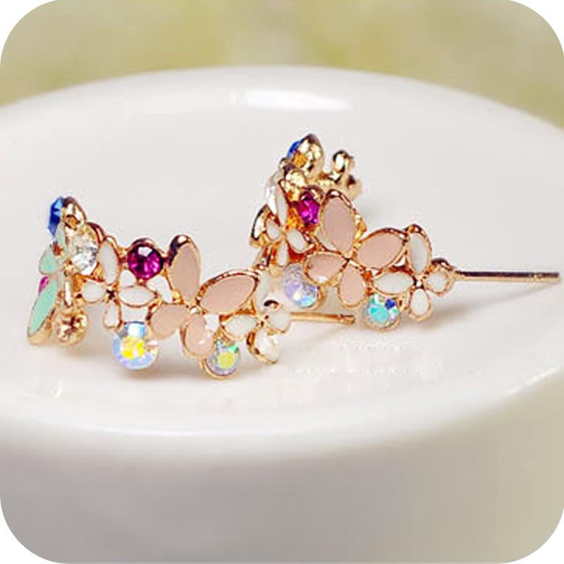 OMH wholesale 12pair OFF 23 0 75 pair EH49 flower elegant crystal garland butterfly flower stud