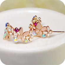 OMH wholesale Oe0271 flower ring elegant diamond garland stud earring butterfly flower earrings female 5g