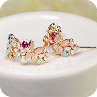 OMH wholesale 12pair OFF 23%= $0.75/pair EH49 flower elegant crystal garland  butterfly flower stud earrings female 5g