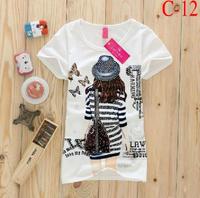 10 Colors New 2014 Summer Women shorts Top Tees T-Shirt Women Casual Cotton Short-Sleeve Girls Punk Loose T-Shirts Clothes S1