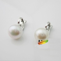 platinum plated elegant pearl stud earrings nice gift for woman free shipping
