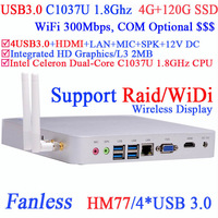2014 Htpc System with Usb 3.0 Wireless Display Technology Works Under Dos Server Intel Hm77 Raid C1037u 1.8ghz 4g Ram 120g Ssd