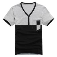 hot sale free shipping  2014 casual  V neck short sleeve men t shirts