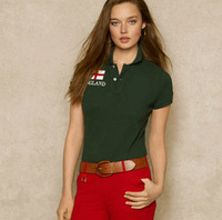 New in 2014 Polo for Woman Casual national flag T-shirt Women's Polo Shirts 100%Cotton for Women Tee Tops Polo womens