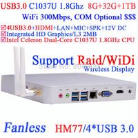 htpc xbmc with 4 Native USB3.0 WiDi technology support DOS Raid Intel HM77 C1037U 1.8Ghz 8G RAM 32G SSD 1TB HDD Windows Linux