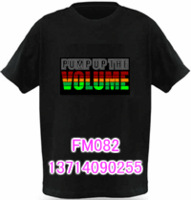 LED Free Shipping t-shirt light clothes led , light clothes voice activated t-shirt fm082