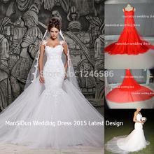 Frete grátis 2014 White Lace Designers E Ver Através Sereia Vestidos de casamento com removível Train Vestidos de noiva de tule(China (Mainland))