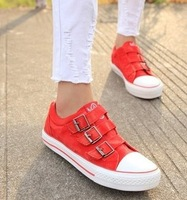 Free shipping 2014 New female canvas shoes Flat low basic  classic pure color female canvas shoes