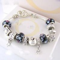 2014 New Arrival , 925 Sterling silver bracelets for women , Glass beads Bracelets & Bangles Wholesale Charm bracelets / PB001
