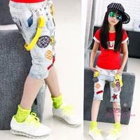 Large female child 2014 labeling summer bib pants jeans capris
