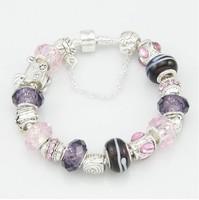 Hot sale items , Purple Glass beads Bracelets & Bangles , 925 Sterling silver bracelets for women Charm bangle / PB003