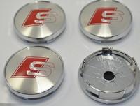 4pcs high quality alloy 60mm sline wheel center caps hub cover chrome car badges S LINE