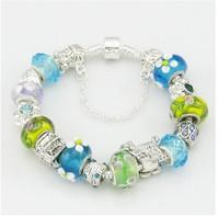 Sale promotion , Blue glass beads Bracelets & Bangles , 925 Sterling silver bracelets for women Charm bangle / PB004