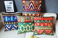 Free shipping Boho Geometric Linen Cotton Pillow Cover Cushion cover / Decorative Cushion Sofa Pillow Cushion 4 desig choosen