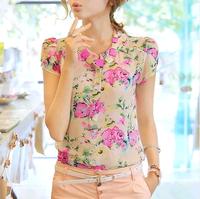 2014 V-neck short-sleeve chiffon shirt slim plus size color block shirt female