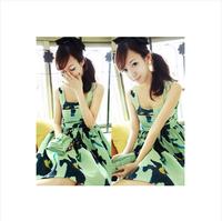 Summer 2014 mint green ink print high waist women's one-piece dress tank dress