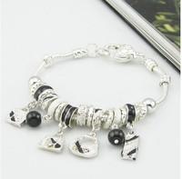 PB014 / Bags pendants European beads Bracelets & Bangles 7.5 snake chain , 925 Sterling silver Charm bracelets for women