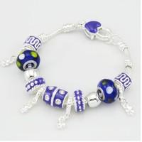 PB033 / Best selling !!! Charm Chamilia bracelet 925 sterling silver glass beads bracelet for woman.silver 925 beads bracelets
