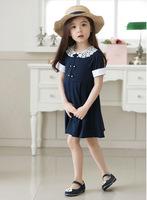 New 2014 summer dress girl's Princess Dress lace round neck children Flanged sleeve dress size100-140 /lot dresses for kid girls
